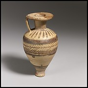 Terracotta pointed aryballos (oil flask)