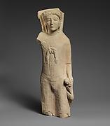 Limestone statuette of Herakles holding a lion