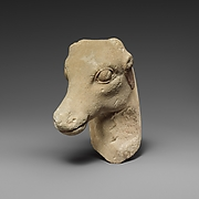 Limestone head of a deer