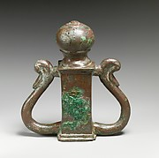 Two bronze chariot attachments with ducks' head finials