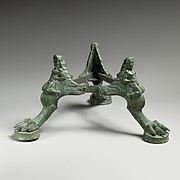 Bronze tripod base for a thymiaterion (incense burner)