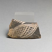 Terracotta rim fragment with hatched form