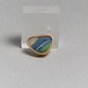 Glass gold-band mosaic bowl fragment