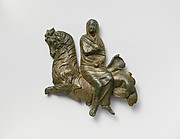 Bronze relief of a veiled woman riding a sea-goat
