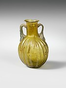 Glass amphoriskos with vertical ribs