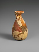 Terracotta inscribed alabastron (perfume vase)