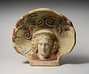 Terracotta antefix (roof tile) with head of a maenad