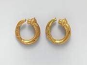Gold trumpet-shaped earrings