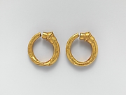 Gold trumpet-shaped earrings