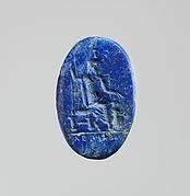 Lapis lazuli intaglio: Serapis enthroned