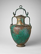Bronze neck-amphora (jar) with lid and bail handle