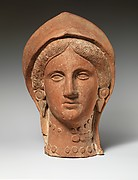 Terracotta head of a woman wearing a stephane