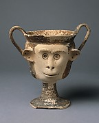 Terracotta kantharos (drinking cup with high vertical handles)