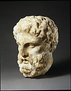 Marble head of a man from a grave stele