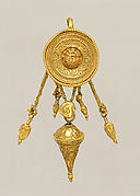 Gold disk earring with a female head and cone pendants