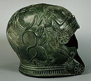 Two bronze helmets