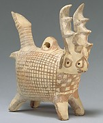 Terracotta zoomorphic askos (vessel) with antlers