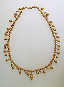 Gold necklace with pendants