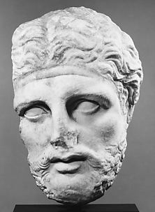 Marble head of a bearded man from a stele (grave marker)