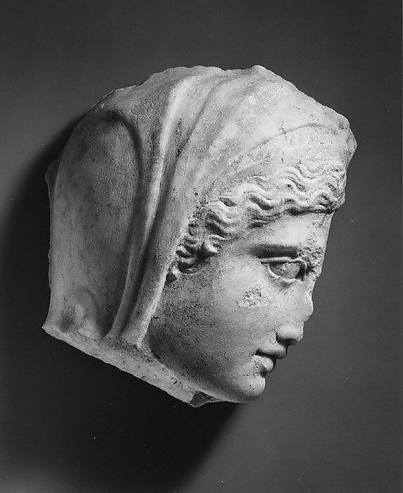 Marble relief fragment with the head of Medea