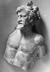 Marble sarcophagus fragment: head and torso of a Gaul