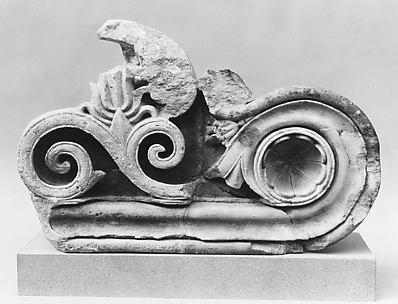 Fragment of a marble console of a door lintel