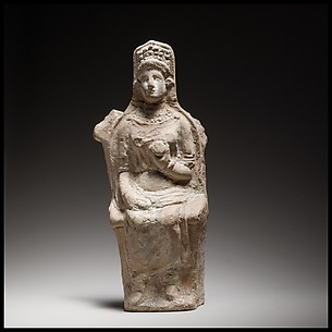 Terracotta figurine of a seated goddess
