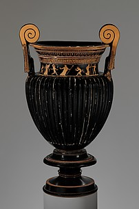 Terracotta volute-krater (bowl for mixing wine and water) with stand