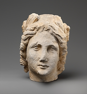 Limestone head of Apollo