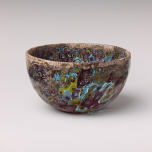 Mosaic glass hemispherical bowl