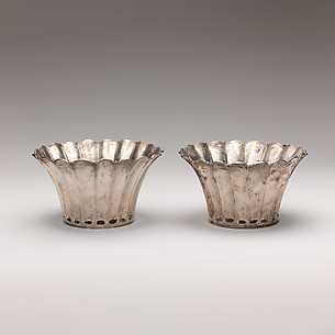 Pair of silver fluted bowls