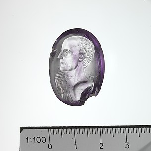 Amethyst intaglio portrait of a man
