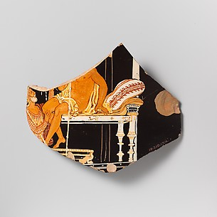 Three fragments of a terracotta calyx-krater (mixing bowl)