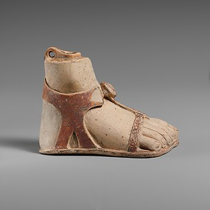 Terracotta aryballos (perfume vase) in the form of a sandaled right foot