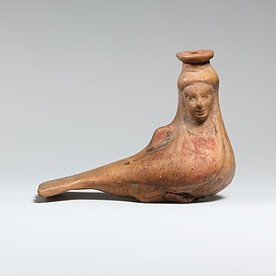 Terracotta vase in the form of a siren