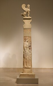Marble stele (grave marker) of a youth and little girl with capital and finial in the form of a sphinx