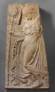 Marble relief with a dancing maenad