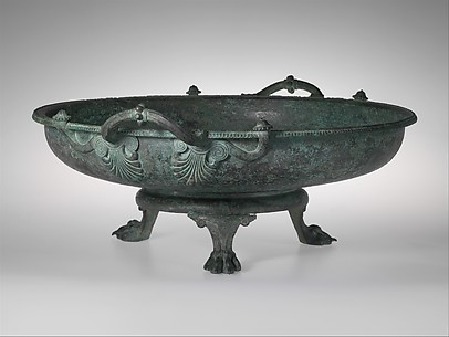 Bronze footbath with its stand