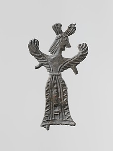 Lead figure of a winged goddess