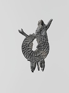 Lead figure of a warrior with spears and shield