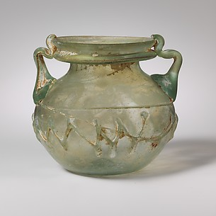 Two-handled glass jar