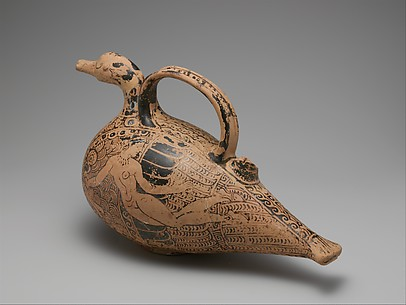 Terracotta duck-askos (flask with spout and handle)