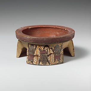 Terracotta tripod pyxis (box)