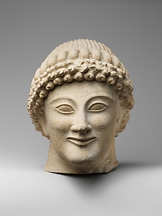 Limestone head of a youth