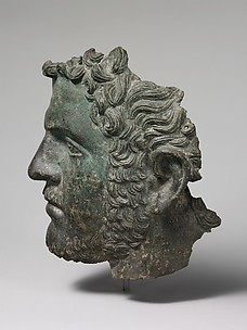 Fragmentary bronze portrait of the emperor Caracalla