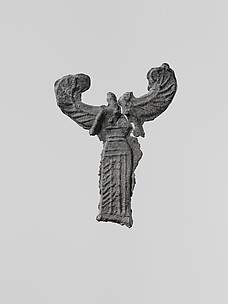 Lead figure of a winged goddess, possibly Artemis Orthia