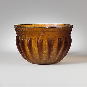 Ribbed glass bowl