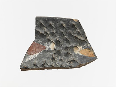 Terracotta rim fragment with polychrome decoration