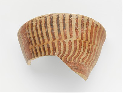 Terracotta rim and upper body fragment from a straight-sided cup with tortoiseshell ripple motif