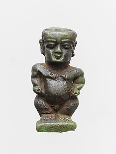 Faience amulet in the form of the dwarf god Pataikos